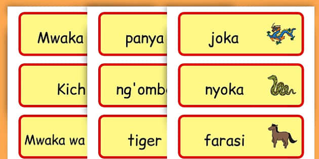 Chinese New Year Topic Word Cards - chinese new year, word cards - Swahili