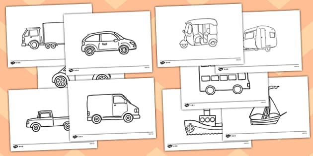 Transport Template Activity Sheet Pack -  roads, cars, transport, vehicle, colouring, worksheet, template, activity