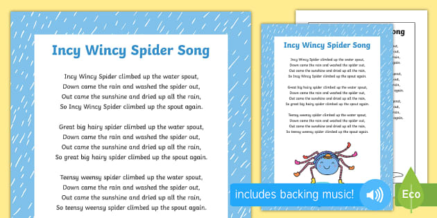 Incy Wincy Spider Song - minibeasts, bugs, sony, singing, ks1, early years, eyfs