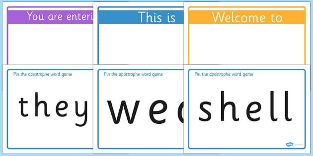 Pin the Apostrophe on the Word Game - word, game, apostrophe
