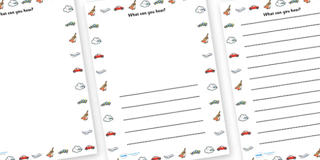 What Can You Hear Writing Frame - writing frame, what can you hear, listen, sounds, writing template, ear, hear, writing, frames, writing frame template