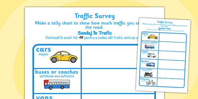 Traffic Survey Worksheet Romanian Translation - traffic, survey, data, handling, count, transport, vehicles