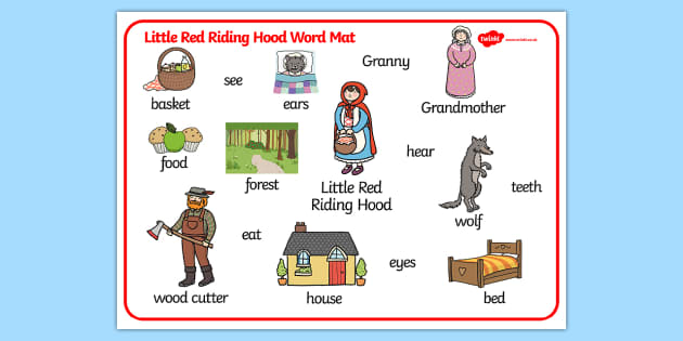 Little Red Riding Hood Word Mat - Little Red Riding Hood, word mat, writing aid, traditional tales, tale, fairy tale, Wolf, Grandma, woodcutter, bed, cottage, forest, what big teeth you have