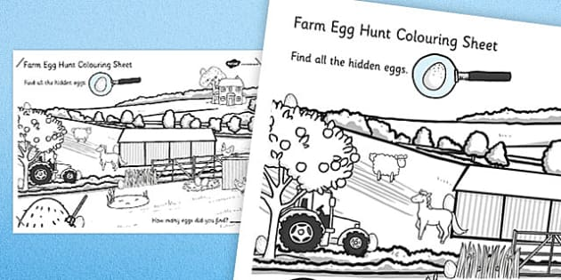 Farm Egg Hunt Large Colouring Sheet - farm, egg, hung, colouring