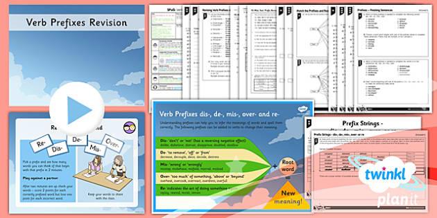 PlanIt Y5 SPaG Lesson Pack: Revising Verb Prefixes dis-, de-, mis-, over- and re- - GPS, Prefixes, Root Words