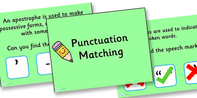 Punctuation Matching PowerPoint Activity - punctuation, powerpoint, activity, punctuation powerpoint, punctuation matching, matching activity, games