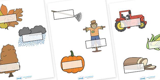 Editable Self Registration Labels (Autumn) - Self registration, register, autumn, harvest, editable, labels, registration, child name label, printable labels