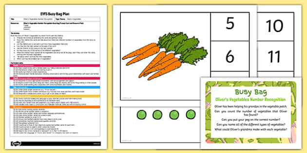 EYFS Number Recognition Busy Bag Plan and Resource Pack to Support Teaching on Oliver's Vegetables