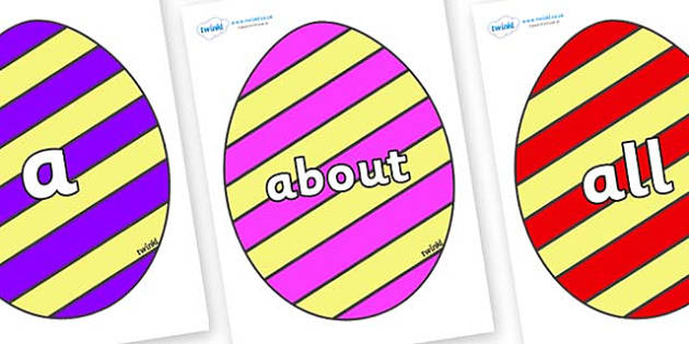 100 High Frequency Words on Easter Eggs (Stripes) - High frequency words, hfw, DfES Letters and Sounds, Letters and Sounds, display words