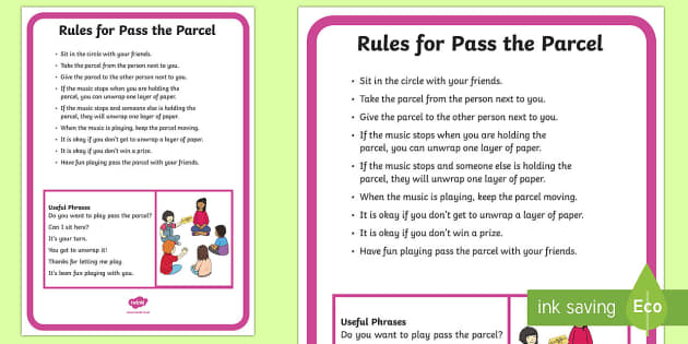 Pass the Parcel Rules and Social Scripts