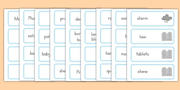Moses Word Cards - usa, america, Moses, Egypt, Hebrews, slaves, Pharaoh, basket, God, word card, flashcards, cards, palace, shepherd, burning bush, plague, Promised Land, law, stone, ten commandments, bible, bible story