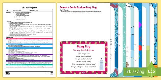 Eyfs sensory bottle explore busy bag plan and resource pack for Explore plan