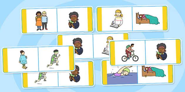 Verb Dominoes - verb, verbs, dominoes, dominoe, game, activity, words, word, type, word types, creative