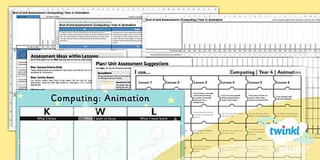 PlanIt - Computing Year 4 - Animation Unit Assessment Pack - planit, computing, unit