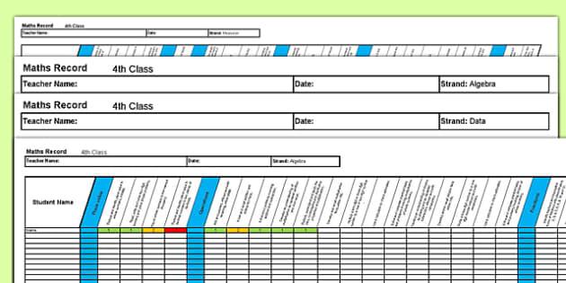4th Class Maths Record Spreadsheet - irish, maths, assessment, testing, 4th Class