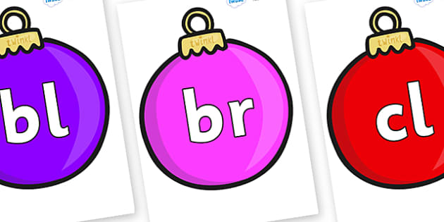Initial Letter Blends on Baubles (Plain) - Initial Letters, initial letter, letter blend, letter blends, consonant, consonants, digraph, trigraph, literacy, alphabet, letters, foundation stage literacy