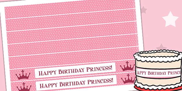 Princess Themed Birthday Party Cake Ribbon - parties, display