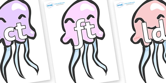 Final Letter Blends on Jellyfish - Final Letters, final letter, letter blend, letter blends, consonant, consonants, digraph, trigraph, literacy, alphabet, letters, foundation stage literacy