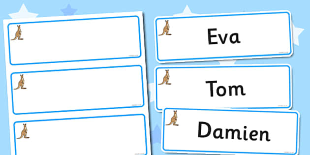 Kangaroo Themed Editable Drawer-Peg-Name Labels (Blank) - Themed Classroom Label Templates, Resource Labels, Name Labels, Editable Labels, Drawer Labels, Coat Peg Labels, Peg Label, KS1 Labels, Foundation Labels, Foundation Stage Labels, Teaching Lab