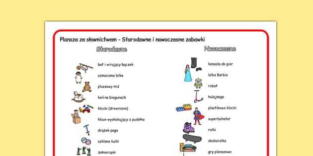 Plansza ze słownictwem Starodawne i nowoczesne zabawki po polsku