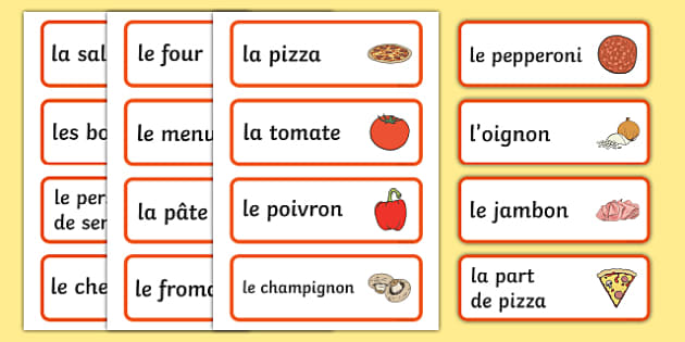 Pizza parlour role play word cards French