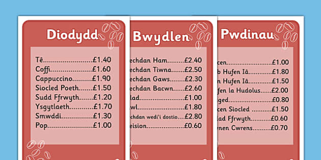 Individual Cafe Menus (Welsh Translation) - roleplay, wales