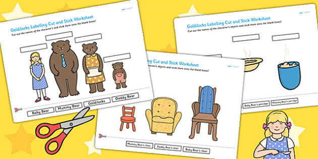 Goldilocks Scene Labelling Cut and Stick Worksheet - cut, stick