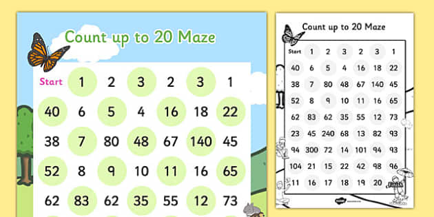 Counting up to 20 Maze Activity Sheet - counting, maze, activity, worksheet