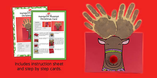 Handprint Rudolph Christmas Card Craft Instructions - rudolph, card, craft, pack