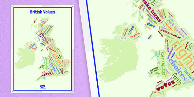 British Values British Isles Word Cloud Display Poster - british values, british isles, word, cloud