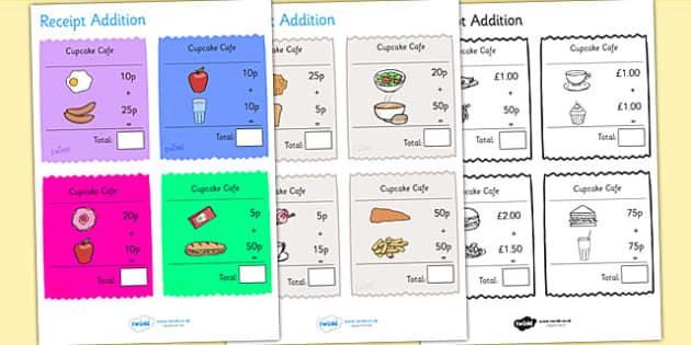 Receipt Addition Maths Activity Sheet Pack - numeracy, adding, add, worksheet