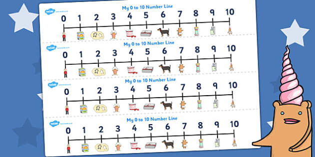Number Lines 0-10 to Support Teaching on Biscuit Bear - number line, biscuit, maths