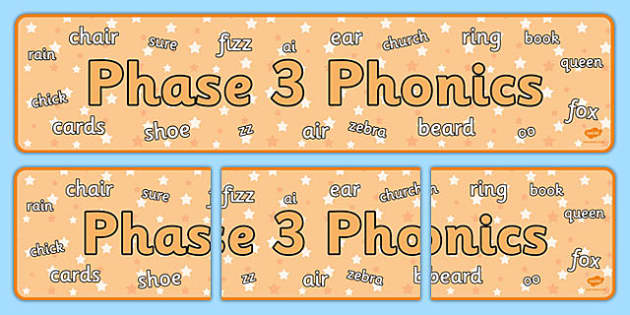 Phase 3 Phonics Display Banner - phase 3, phonics, display banner, display, banner