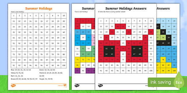 Summer Holidays Colour by Number 100s Chart Activity Sheets - End of Year, end of year worksheet, end of year activity sheet, last day of school, last day, summer