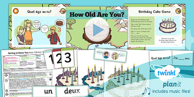 PlanIt - French Year 3 - Getting to Know You Lesson 6: How Old Are You? Lesson Pack
