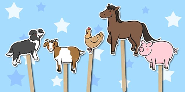 Old MacDonald Had a Farm Stick Puppets - Old MacDonald Had a Farm, nursery rhyme, stick puppet, rhyme, rhyming, nursery rhyme story, nursery rhymes, farm, farm animals, action song, Old MacDonald resources