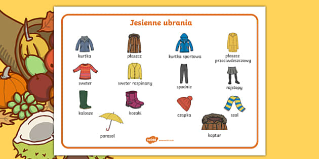 Autumn clothes word mat Polish-Polish