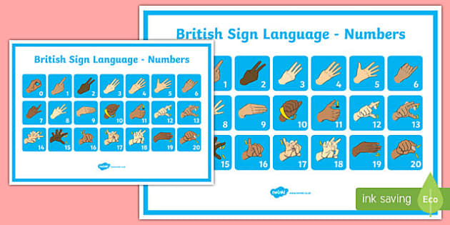 Large British Sign Language Numbers Poster Readers View - large, british, sign language, numbers, poster, readers view