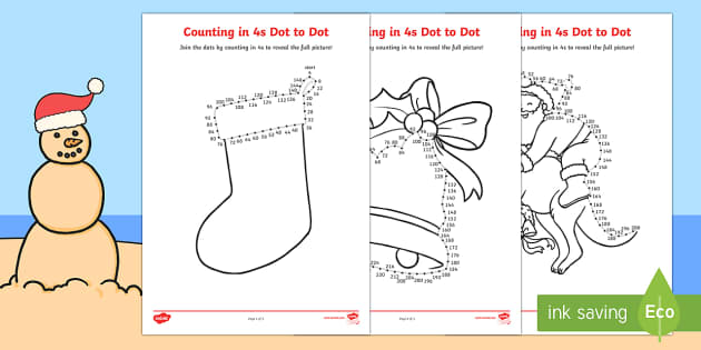 Christmas Counting in 4s Dot to Dot Colouring Pages - Christmas Australia, dot to dot, mathematics, curriculum, activity sheet, colouring pages, counting,