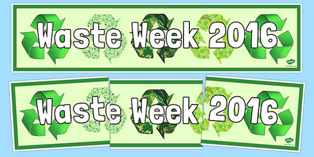 Waste Week 2016 Display Banner - Waste Week, Eco-schools, WEEE, waste electrical and electronic equipment, technology, recycle, reuse, wordsearch.