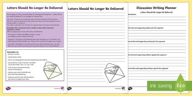 Year 5 Discussion Writing:  Letters Should No Longer Be Delivered Activity Sheets-Australia - Literacy, australian curriculum, australia, literacy, english, text types, discussion, naplan, asses