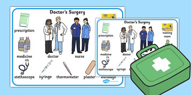 Doctors Surgery Word Mat - doctors, surgery, word mat, word, mat