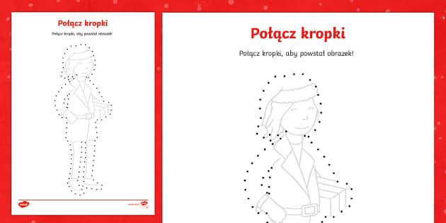 Karta Połącz kropki Pani Mikołajowa - Święta, Boże Narodzenie, Gwiazdka, Mikołaj, Gwiazdor, Choinka, prezenty, grudzień, Święto, bo
