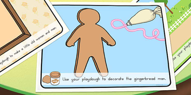 The Gingerbread Man Playdough Mats - australia, traditional tales, story, fairy, tale, gingerbead, biscuit, catch, playdough, sculpt
