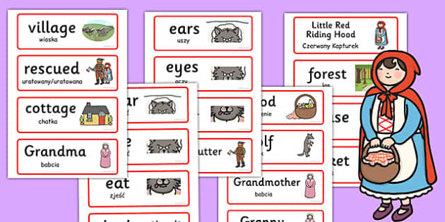 Little Red Riding Hood Word Cards Polish Translation - polish