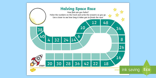 Halving Race Worksheet - halving, race, worksheet, halve, game