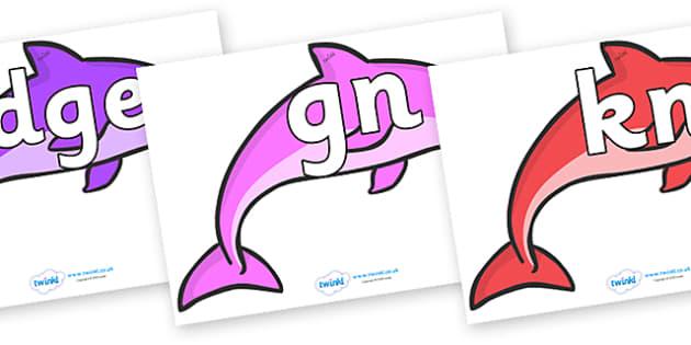 Silent Letters on Dolphins (Multicolour) - Silent Letters, silent letter, letter blend, consonant, consonants, digraph, trigraph, A-Z letters, literacy, alphabet, letters, alternative sounds