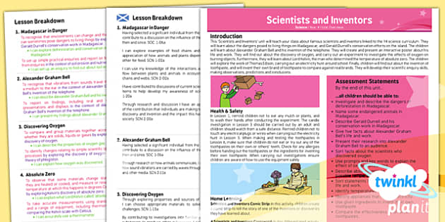 PlanIt - Science Year 4 - Scientists and Inventors Planning Overview CfE - Planit, CfE, Madagascar, Gerard Durrell, environment, conservation, Alexander Graham Bell, telephone, oxygen, Lord Kelvin, absolute zero, Thomas Edison, electricity, toothpast
