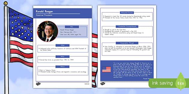 Ronald Reagan Fact Fact File