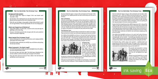 First World War: The Christmas Truce Differentiated Reading Comprehension Activity - First World War KS2, great war, world war one, Christmas Truce, truce, WW1, world war 1, reading, co